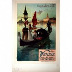 """Afiche para la Compañía de Ferrocarriles del Este """"De París a Venecia"""""""