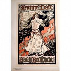 """Afiche para el Théâtre de la Renaissance """"Jeanne d'Arc"""" (con Sarah Bernhardt)"""