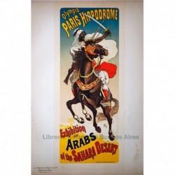 """Afiche para el Hipódromo de París: """"Exhibición de árabes del Sahara"""""""