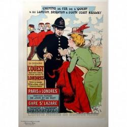 """Afiche para la Compañía de Ferrocarriles del Oeste: """"París-Londres"""""""