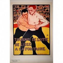 Afiche belga para un torneo de lucha.