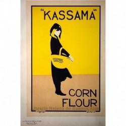 Afiche inglés para la harina de maíz Kassama.