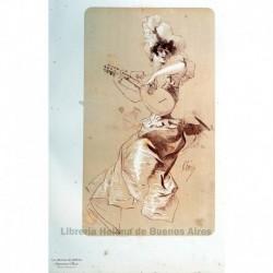 Diseño original para Les Maîtres de l'Affiche. (Mujer tocando la mandolina)
