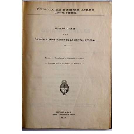 Guía de calles y división administrativa de la Capital Federal.