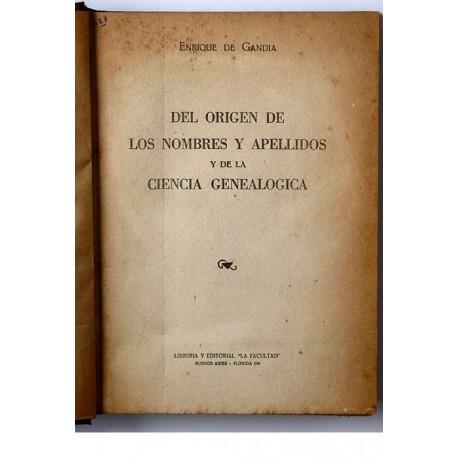 Del origen de los nombres y apellidos y de la ciencia genealógica